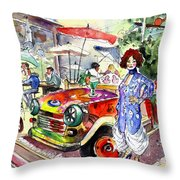 The Klimt Girl In A Ruin Bar In Budapest Throw Pillow