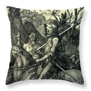 The Knight, Death And The Devil Throw Pillow
