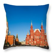 The Kremlin Towers And The State Museum Of Russian History - Square Throw Pillow