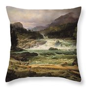 The Labro Falls At Kongsberg Throw Pillow