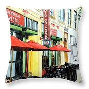 The Lady In Red Shoes Throw Pillow