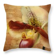 The Lady Slipper Orchid Throw Pillow