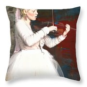 The Lady With The Violin Throw Pillow