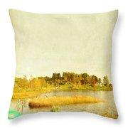 The Lake In Autumn Throw Pillow