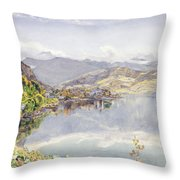 The Lake Of Lucerne, Mount Pilatus Throw Pillow
