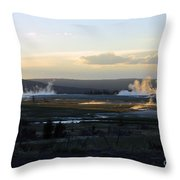 The Land Of Geysers. Yellowstone Throw Pillow