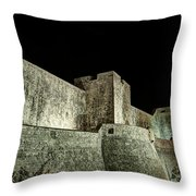 The Landside Walls Of Dubrovnik At Night No1 Throw Pillow