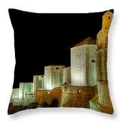The Landside Walls Of Dubrovnik At Night No2 Throw Pillow
