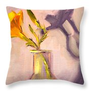 The Last Lily Throw Pillow by Nancy Merkle