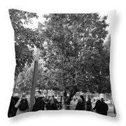 The Last Living Thing Pulled From The Rubble... The Survivor Tree In Black And White Throw Pillow
