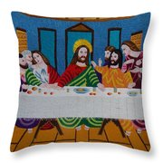 The Last Supper Hand Embroidery Throw Pillow by To-Tam Gerwe