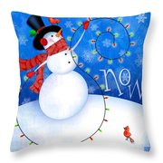 The Letter S For Snowman Throw Pillow