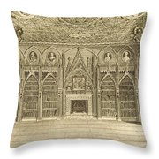 The Library, Engraved By Godfrey Throw Pillow