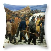 The Lifeboat Is Taken Through The Dunes Throw Pillow