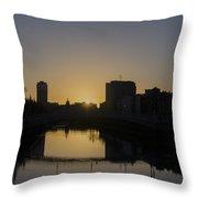 The Liffey River In Morning - Dublin Ireland Throw Pillow