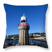 The Lighthouse And Fishing Harbour Throw Pillow