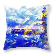 The Lighthouse Through Turbulent Waters Throw Pillow
