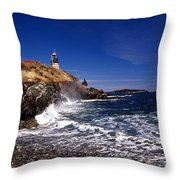 The Ligthouse At West Quoddy Throw Pillow
