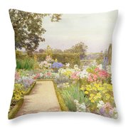 The Lily Border At Great Tangley Manor Throw Pillow