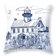 The Lines Of East Point Light In Blue Throw Pillow