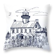 The Lines Of East Point Lighthouse In Blue 2 Throw Pillow