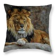 The Lion Digital Art Throw Pillow