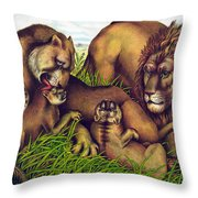 The Lion Family Throw Pillow