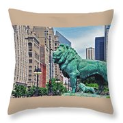 The Lions Of Chicago Throw Pillow