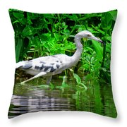 The Little Blue Heron Throw Pillow
