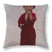 The Little Boy In The Red Silk Dress Throw Pillow