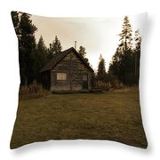 The Little Cabin In The Woods Throw Pillow
