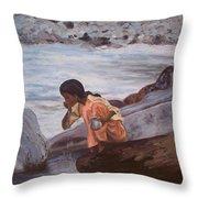 Little Girl And Ganga River Throw Pillow