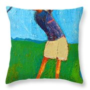 The Little Golfer Throw Pillow