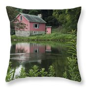 The Little Pink Cabin With Ripples Throw Pillow