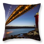 The Little Red Lighthouse Throw Pillow