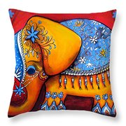 The Littlest Elephant Throw Pillow by Karin Taylor