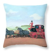 The Liverpool And London Royal Mail Coach, 1812 Oil On Canvas Throw Pillow