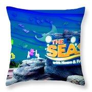 The Living Seas Signage Walt Disney World Throw Pillow