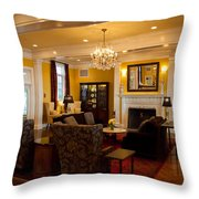 The Lobby Fireplace At The Sagamore Resort Throw Pillow