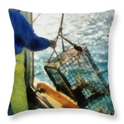 The Lobsterman Throw Pillow by Michelle Calkins