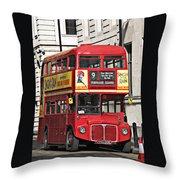 Vintage London Bus Throw Pillow