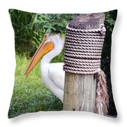 The Lone Pelican Throw Pillow