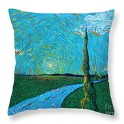 The Long Blue Road Throw Pillow