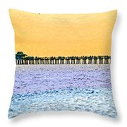 The Long Pier - Art By Sharon Cummings Throw Pillow