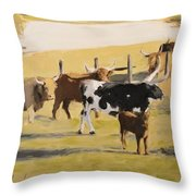 The Longhorn Cows Throw Pillow