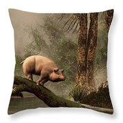The Lost Pig Throw Pillow