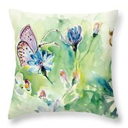 The Love Between Butterfly And Chicory Throw Pillow