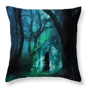 The Lovers Cottage By Night Throw Pillow