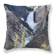 The Lower Falls Of Yellowstone River Throw Pillow