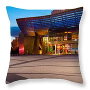 The Lowry Complex At Dusk, Salford Throw Pillow